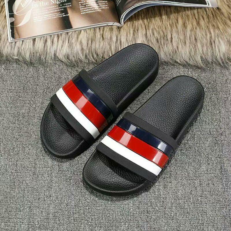 39c0f097 2019 Black Rubber Slide Sandal Slippers Green Red White Stripe Fashion  Design Men Women with Box Classic Ladies Summer Flip Flops
