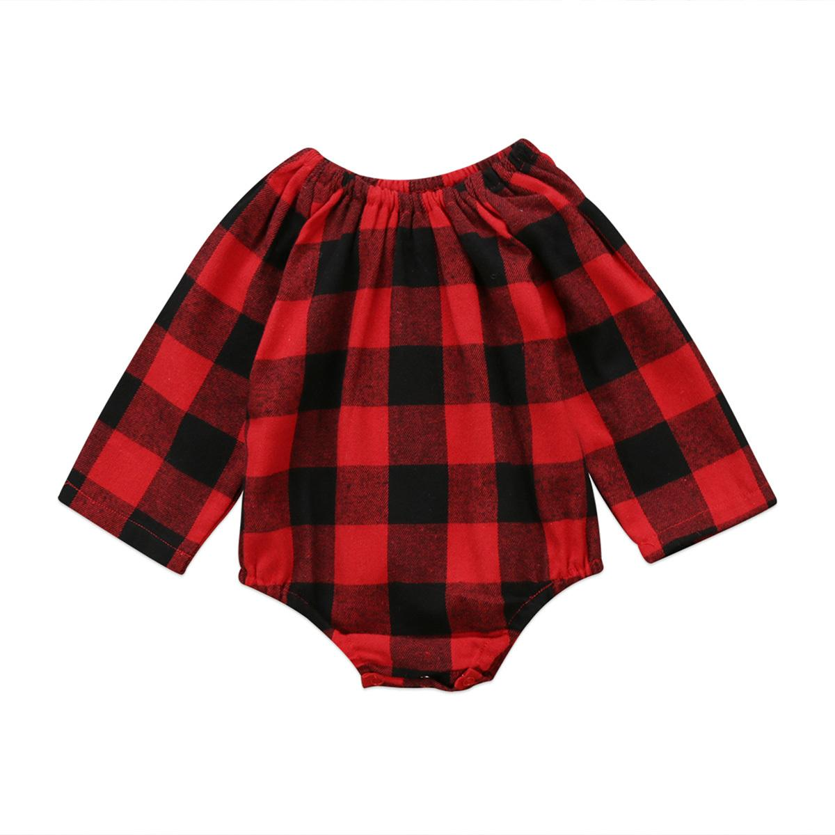 6651e4a40 2019 Christmas Autumn Toddler Infant Baby Boys Girls Long Sleeve Romper Red  Plaid Jumpsuit Clothes Outfits 0 2T Buffalo Plaid Y18102907 From Gou07, ...