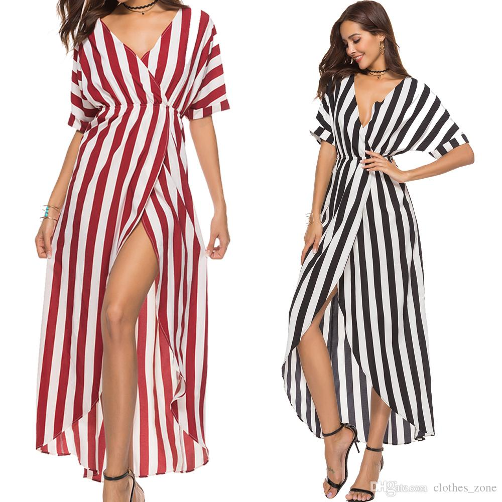 Women Dresses Plus Size With Deep V Neck Red White Stripe Color High Waist  Hi Low Silhouette Asymmetric Hem Ladies Holiday Dresses Green And White  Dress For ... f5b20715eeaf