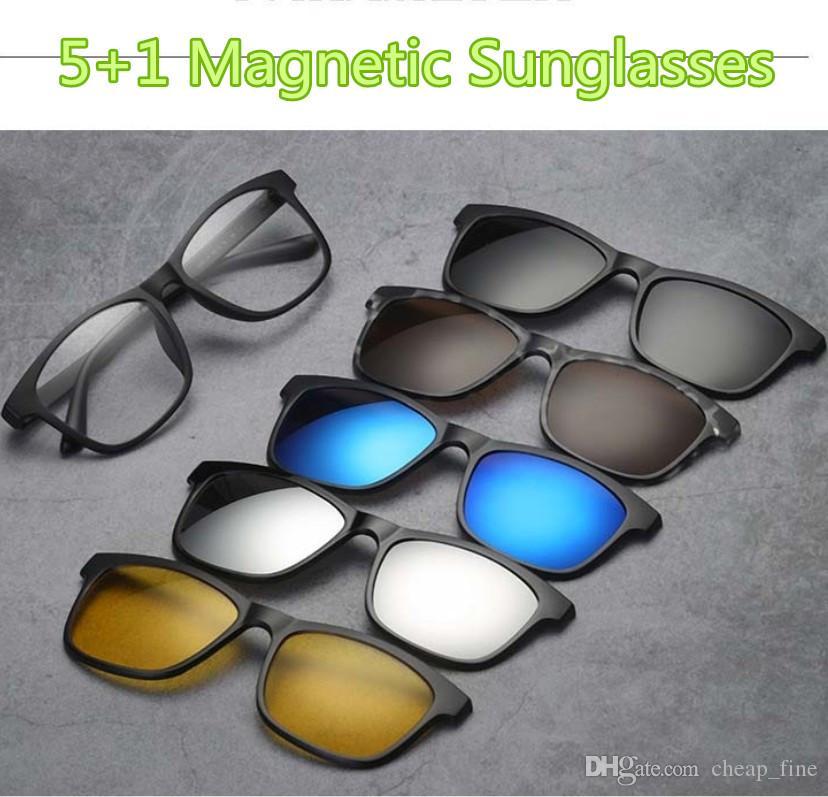 b1045bc0d Compre 5 + 1 Terno Magnético Óculos De Sol Lens Swappable Óculos De Sol Das  Mulheres Dos Homens Óculos Clip On Óculos De Sol Polarizados Ímã Óculos 24  ...