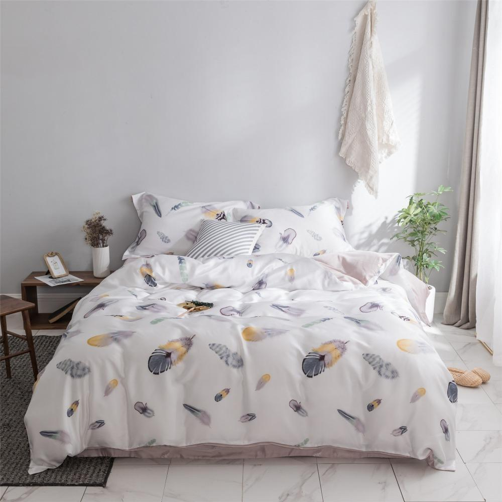 Double Sided Tencel Nordic Feather Bed Linens Set Summer Bedding