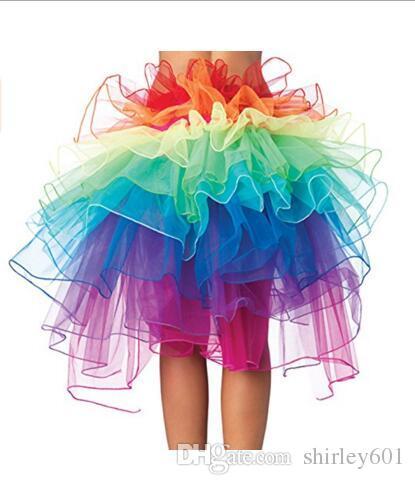 Sexy Rainbow Tutu Skirt Organza Tulle Tutu Skirts Adult Dancing Tutu Clubwear Costume Colorful Layered Skirts