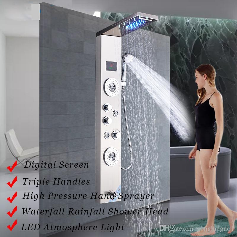Bagno Doccia rubinetto LED Cascata Doccia a pioggia Pannello idromassaggio Getti Vasca Doccia Colonna Rubinetto bar