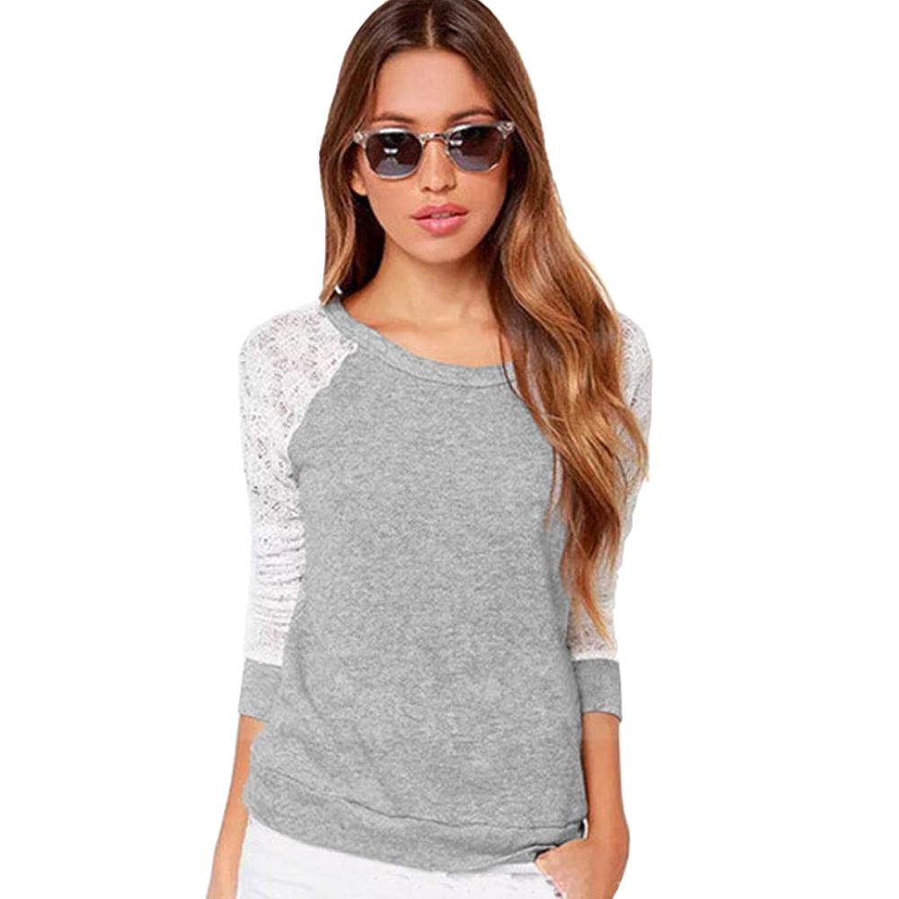 97f558fcf19 Crochet Lace Sleeve T Shirt Long Sleeve Hollow Out Plus Size Womens  Clothing Loose Casual Pullover Tops Sexy Backless T Shirt Printed T Shirts  Funny T Shirt ...