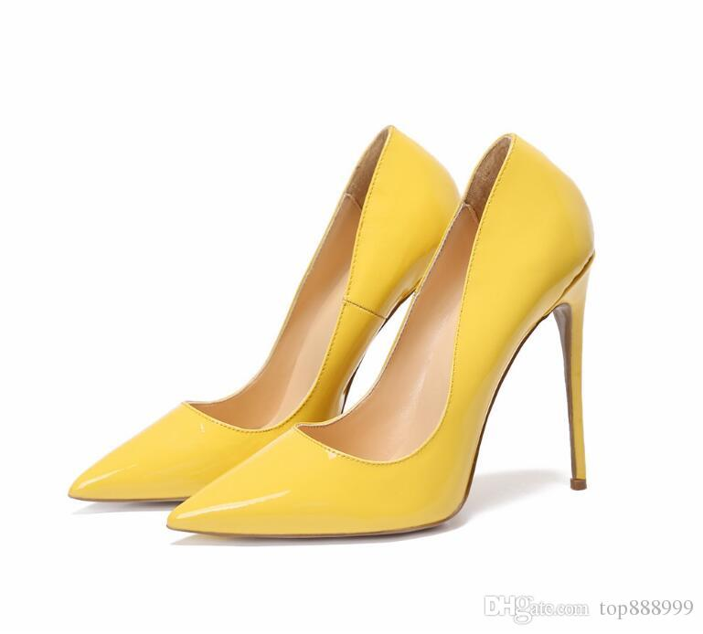 2018 Womens High Heels Patent Leather Womens Pumps Slip On Pointed Toe Sexy leadies Shoes Party Shoes