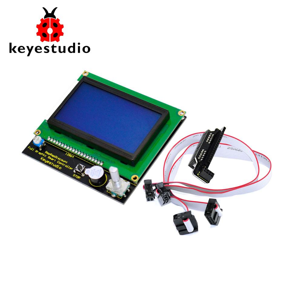 Free shipping! Keyestudio 12864 LCD Graphic Smart Display Controller Board  Adapter 30cm Cable for Arduino 3D Printer Ramps 1 4