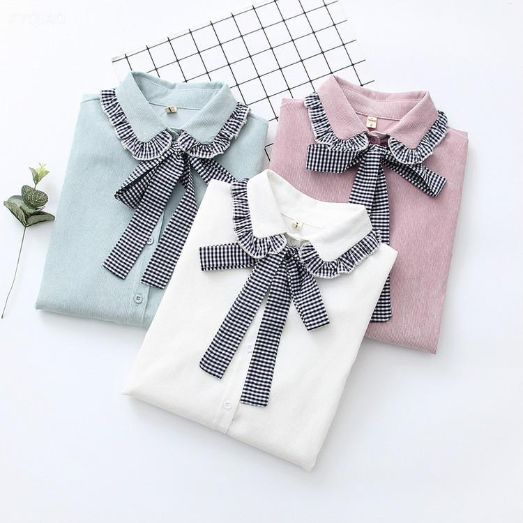 9ed2fa2c6 KYQIAO Lolita camisa uniforme escolar japonés mori niñas otoño primavera  kawayi lindo de manga larga a cuadros peter pan cuello arco blusa