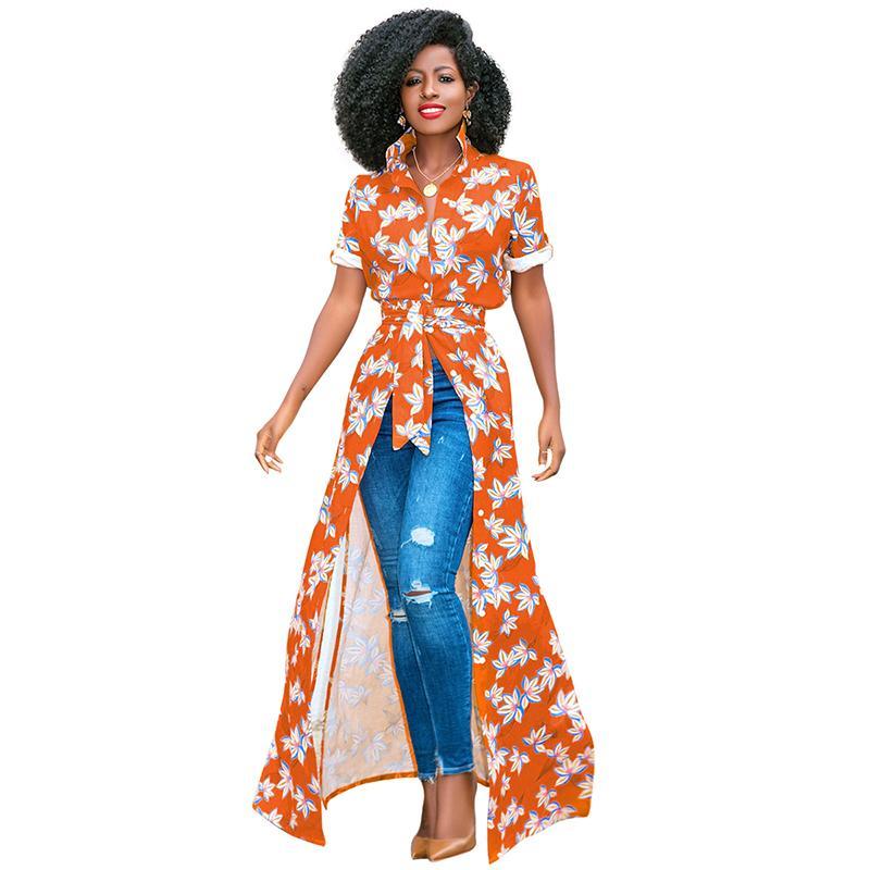 d2a56ee240f9d Women African Print Shirt Dress Floral Print Turn Down Collar Short Rolled  Sleeve Wrap Dress Buttons Maxi Gown Casual One-Piece