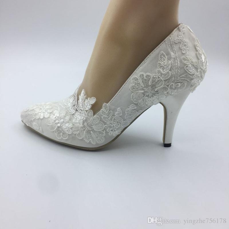 sale retailer c9408 4a370 Imit Silk Hochzeit Schuhe Satin Elfenbein Braut Hochzeit spitze Zehe  Kleider Diamant Spitze manuelle Hochzeit BRAUT HEEL Schuhe neue EU35-42 A1