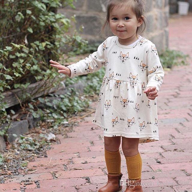 Ins Kızlar Tilki Gözlük Elbiseler Papyon Baskılı Uzun Kollu Diz Boyu A-Line Pamuk Bebek Yürüyor Bebek Rahat Moda Prenses Bez 6 M-4 T