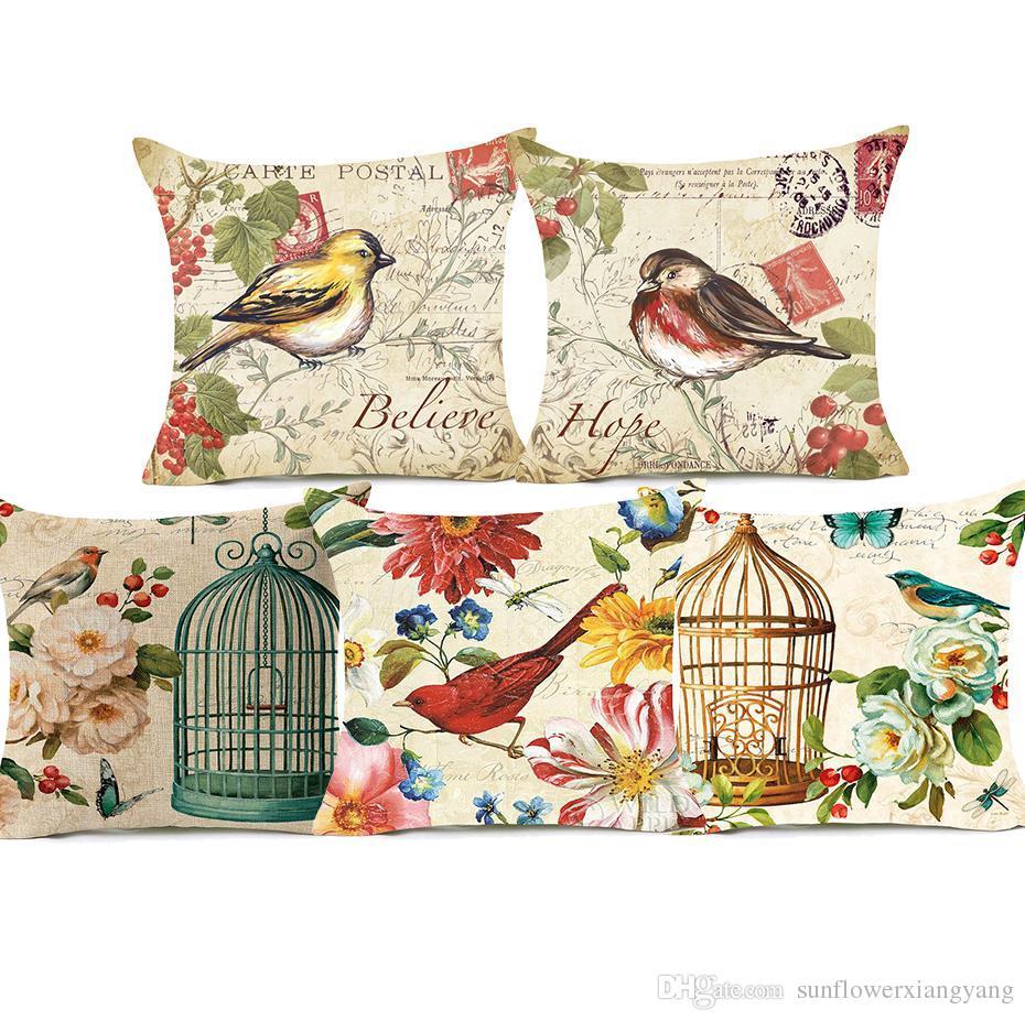 Satın Al El Boyama Kuşlar Ve çiçekler Yastık Kapakları Vintage Kuş