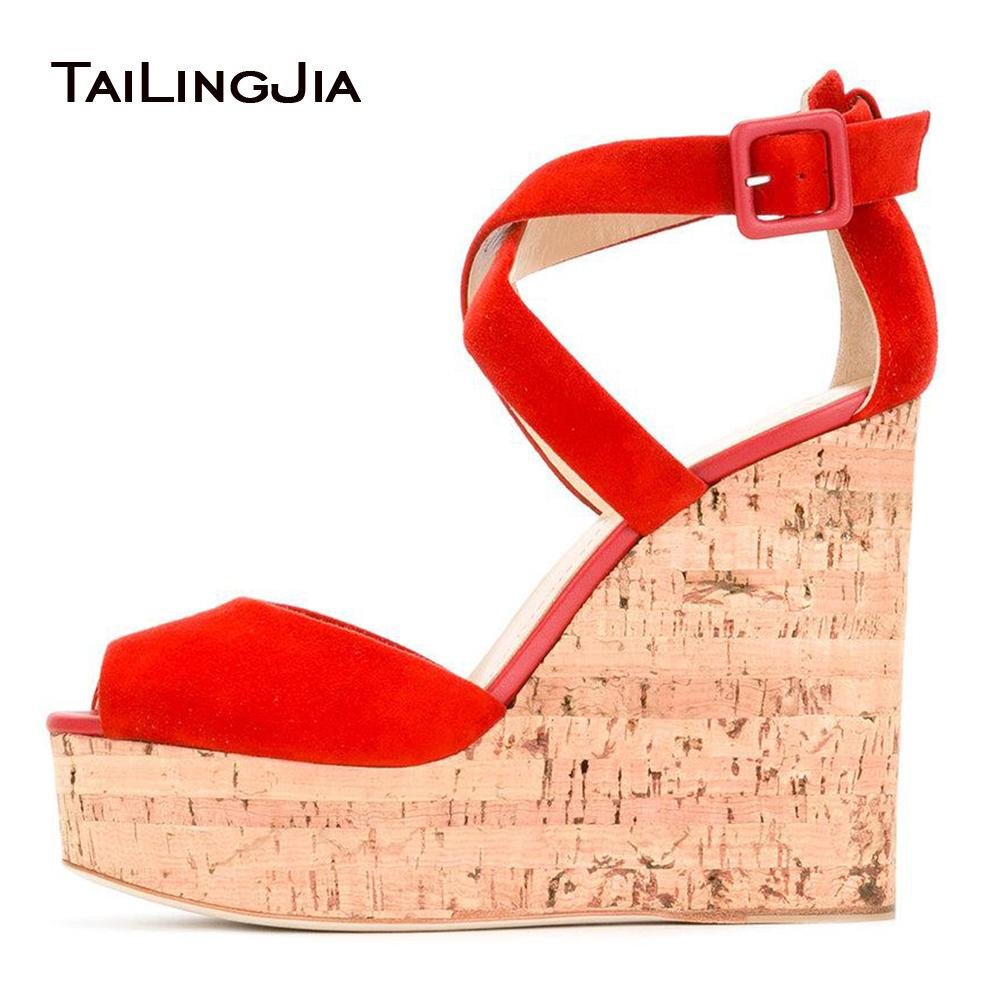825552da040 Women Red Faux Suede Cork Wedge Sandals Peep Toe Supper High Platforms  Dress Heels Ladies Summer High Heel Shoes Plus Size 2018 Skechers Sandals  Sexy Shoes ...