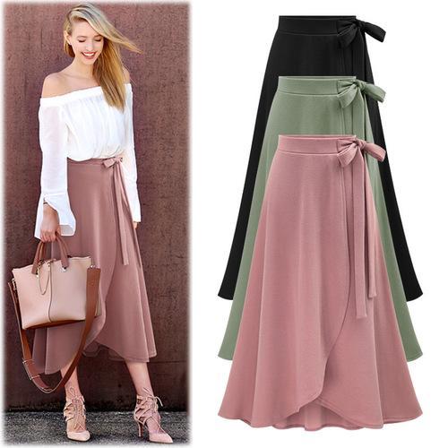 d42abf7e2 2018 Mujeres Primavera Otoño Faldas Largas Moda Vendaje de cintura alta  Falda 6xl Gran Tamaño Femenino Casual Irregular Cien y Hasta Faldas