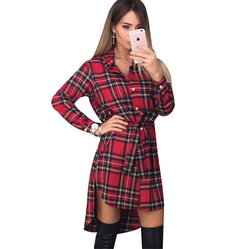 03ed16d96979d Compre Vestido De Camisa De Tela Escocesa De Las Mujeres 2019 Moda De Manga  Larga Vestido De Oficina Turn Down Collar Irregular Casual Loose Party Mini  ...