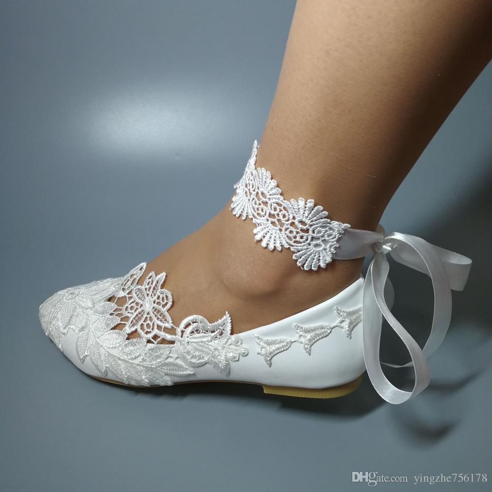 newest collection 4a016 623b6 Handgefertigte Damenmode Weiß Hochzeit Schuhe flache Ballett Spitze Blume  Brautschuhe Größe EU 35-42 NEU