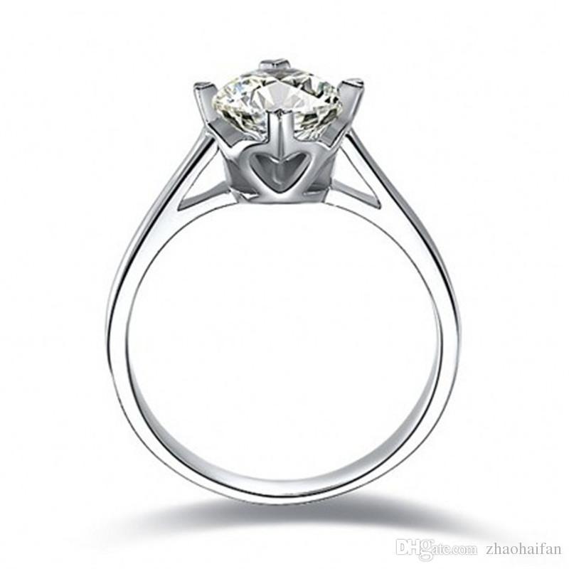 ZHF Takı 100% Gerçek Katı Gümüş Yüzükler 1.5 Ct SONA CZ Pırlanta Nişan Alyans Kadınlar Için Yüzük