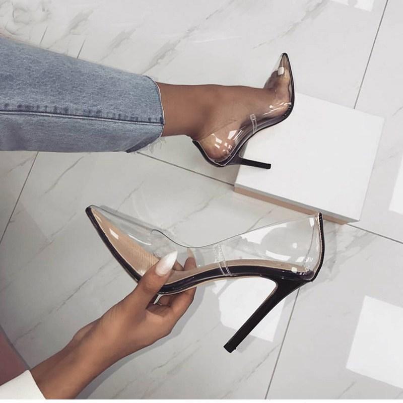60ae78139 Compre 2019 Mulheres Bombas Perixire 2018 Transparente Super Saltos Altos  Sexy Dedo Apontado Toe Slip On Sapatos De Festa De Casamento Para Senhora  Saltos ...