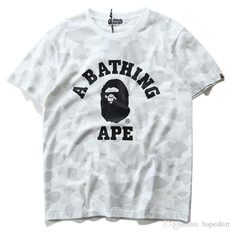 Camo Sommer Heißer Schwarzweiß Ape Menwomen Sportwear T-shirts Pullover Baumwolle T-shirt Crewneck Hip Hop T-shirts für Liebhaber