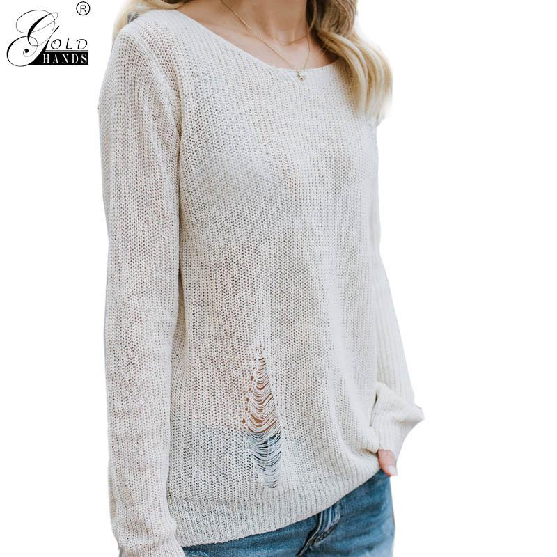 2019 Gold Hands Hole Lace Up Autumn Knit Sweater Pullover Women O Neck  Casual Loose Sweater Jumper Female Long Sleeve White From Eventswedding 3c433e812