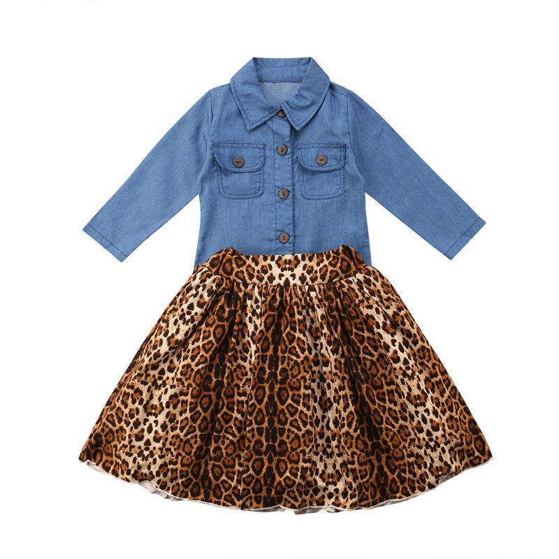 1ea598dc7de15 Acheter Nouveau Mode AU Enfants Bébé Fille Vêtements Denim Shirt Top +  Léopard Pleine Jupe Dress Outfits Set Vêtements Y1892808 De  16.66 Du  Shenping02 ...