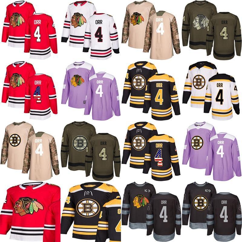 2018 Custom New Chicago Blackhawks Boston Bruins 4 Boddy Orr 1917 ... 70d14d212