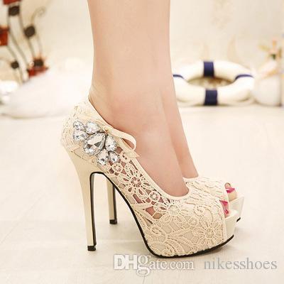 Новый 2018 лета внешней торговли обувь, Мода, кружево, Алмаз, рыбий рот, мелкий рот один обувь.