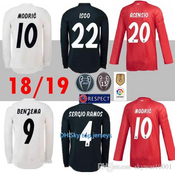 8401b7671fd 2019 Top Thai 18 19 Real Madrid Long Sleeve Soccer Jerseys Home Away MODRIC  2018 2019 BALE ASENSIO KROOS ISCO BENZEMA Third Red Football Uniform From  ...