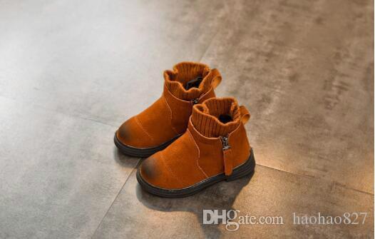 db8286376 Compre 2018 Invierno Nuevos Niños Martin Botas Niño Niñas Engrosamiento  Algodón Botas Lana Boca Botas De Nieve Zapatos Casuales Zapatillas De  Deporte A ...