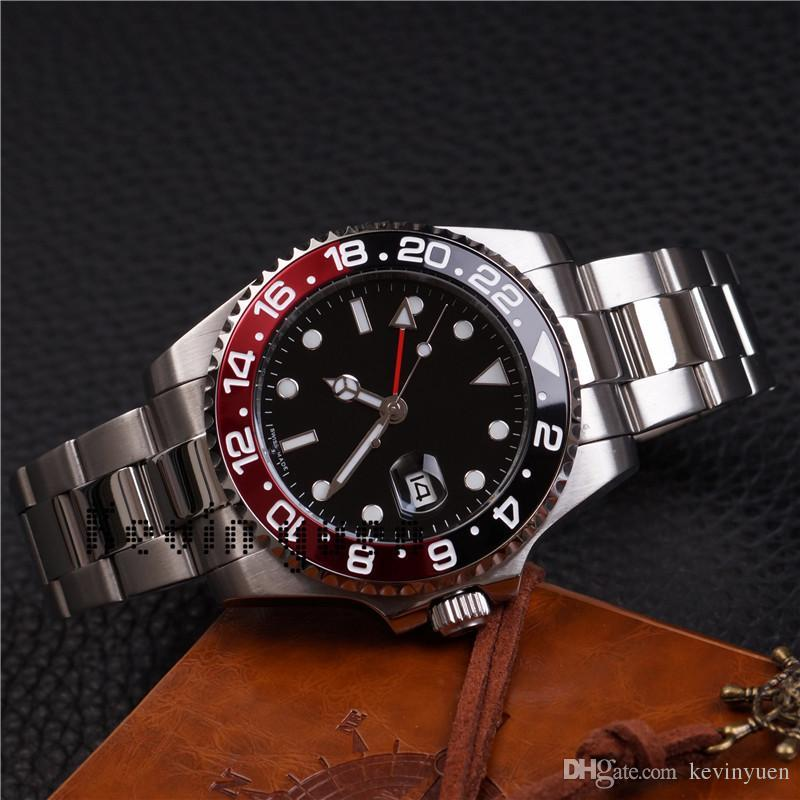 f73564195e6 Compre Marca De Luxo Black Dial Limited Moda Masculina Homens Relógio Gmt  Nova Mecânica Automática Master Ii Mens Relógios De Pulso Em Aço Inoxidável  Hora ...