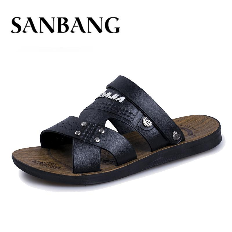 1af5ad054f18 Summer Sandals Men Outdoor Breathable Slippers Leather Shoes Men Beach  Casual Sandalias Slip On Shoes Flip-Flops Zapatos Ax5 Men s Sandals Cheap  Men s ...