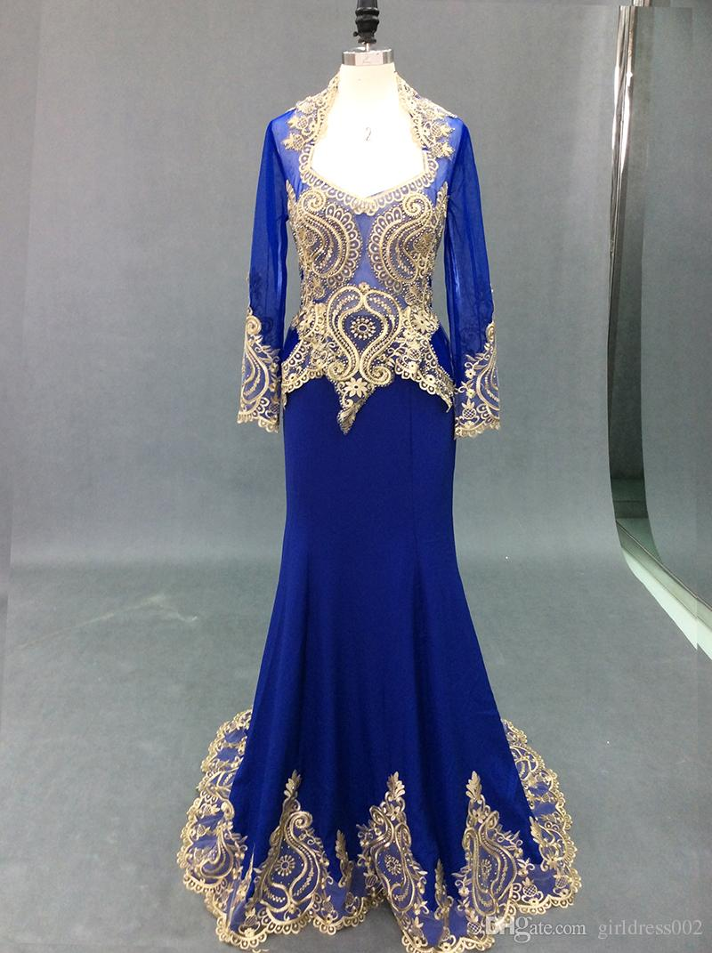 e941ec705 Royal Blue Muslim Evening Prom Dresses With Cape 2018 Mermaid Long Sleeves  Gold Embroidery Beaded Lace Women Formal Evening Gown Black And White Prom  ...