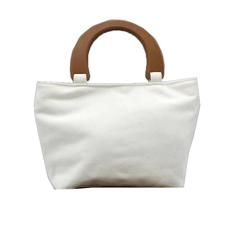 Women  S Fashion Handmade Thick Durable Canvas Tote Bag Diy Handbag Wood  Handle Solid Color Artwork Tote Bag Self Decoration Laptop Bags For Women  Duffel ... 9a79d297b7