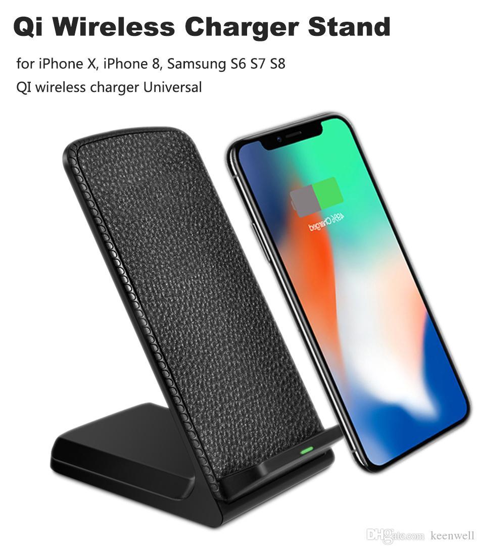 863737d93b0 Cargadores Para Celulares Portatiles QI Cargador Inalámbrico De Carga Para  IPhone 8 10 X Samsung Galaxy S6 S7 S8 2 Bobinas Soporte De Carga Rápida 2.0  ...