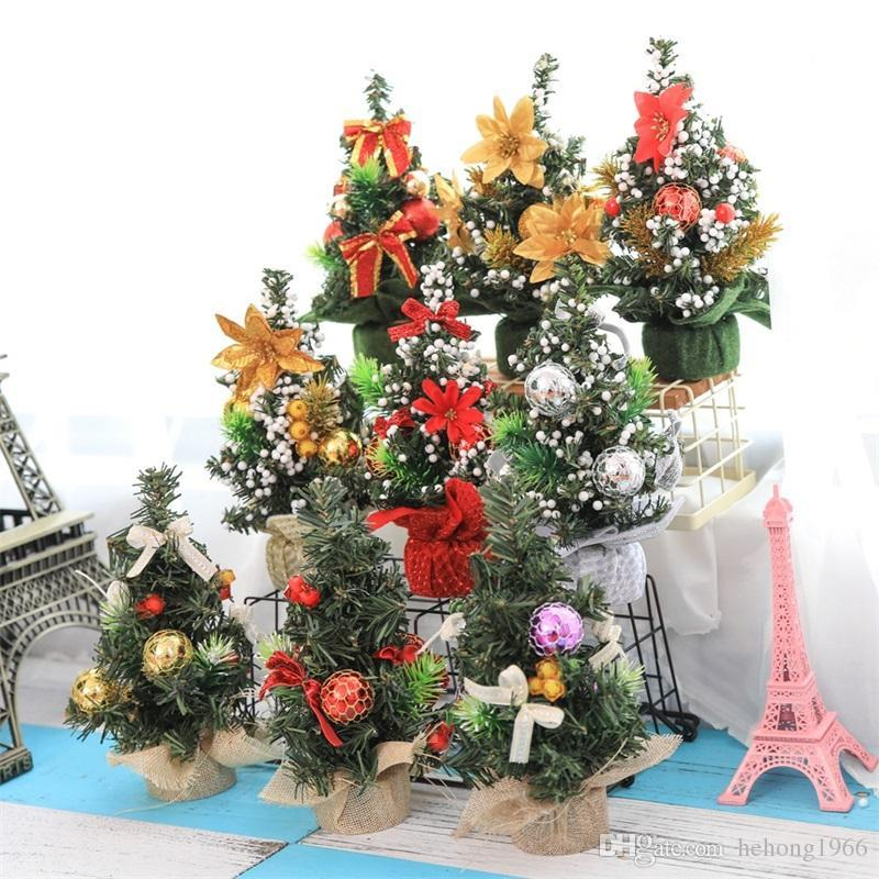 cute mini artificial christmas tree 20cm diy home decorations crafts figurines miniatures market desktop ornaments top quality 4 4yw bb christmas ornaments - Decorated Artificial Christmas Trees