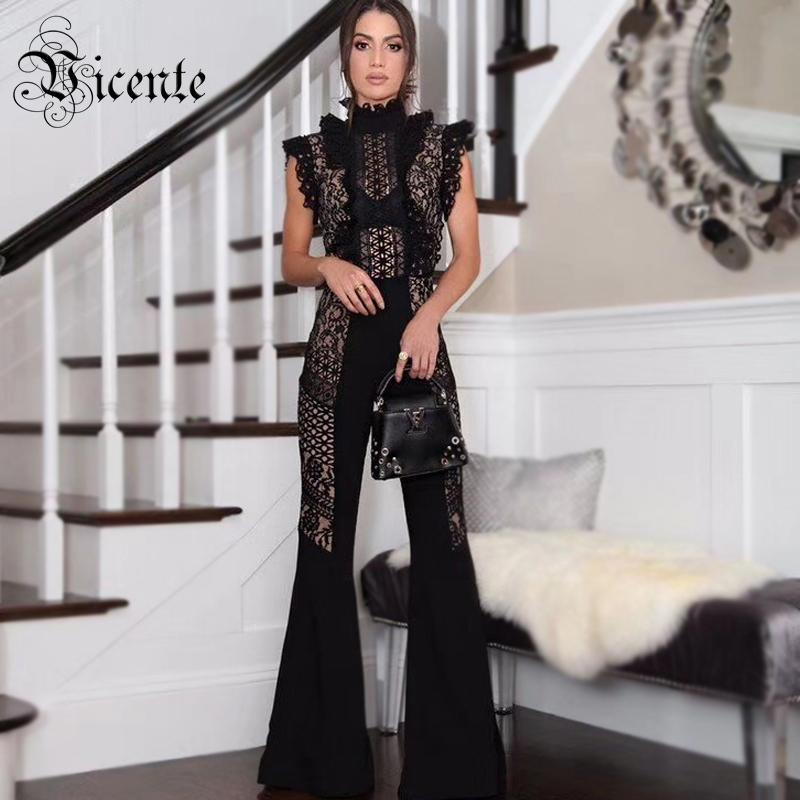 822391d258b Chic Black Lace Jumpsuit Ruffles Sexy Sleeveless Boot Cut Wholesale  Celebrity Party Wear Bandage Jumpsuit From Lorsoul