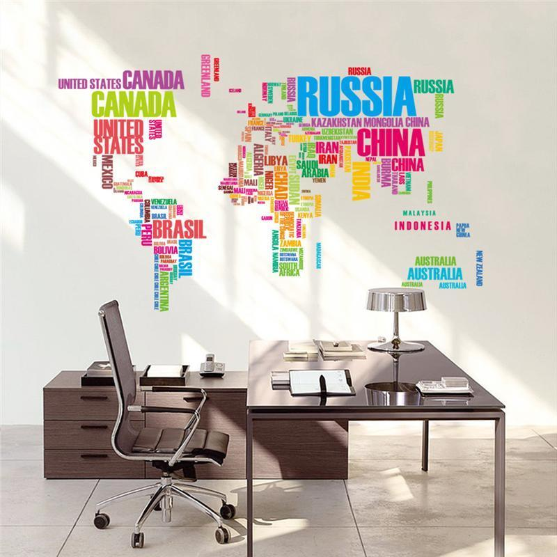 Country Names World Map Wall Stickers Office Living Room Home