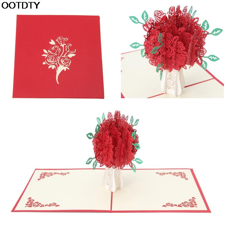Wholesale 3d rose greeting card pop up paper cut postcard birthday wholesale 3d rose greeting card pop up paper cut postcard birthday wedding valentines gift birthday cards for free birthday cards for friends from rudelf mightylinksfo
