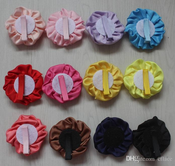 satin fabric rolled flower with lined alligator clip for girls,girl hair clip flower,diy craft flower supplies