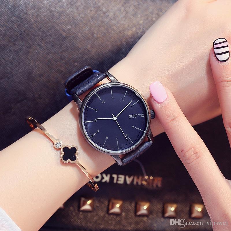 37ee7c9812a Woman Watch Blue Dial PU Strap Luxury Watches Feminine Quartz Watch Simple  Design Brand Sports Fashion Girl Gift Wristwatch Cheap Designer Watches  Cheap ...