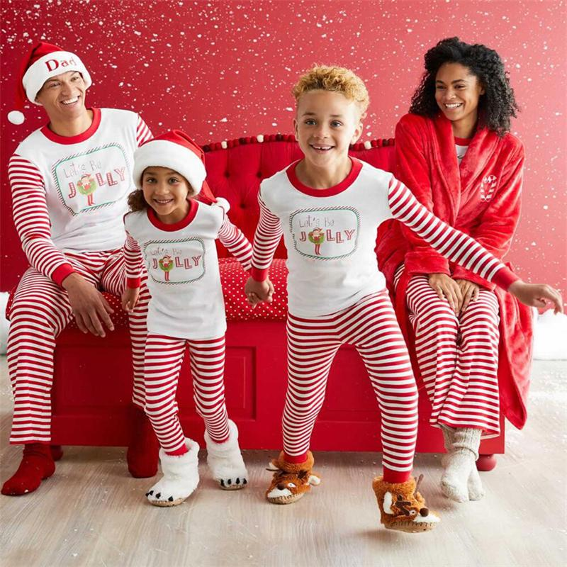 52a6469aff Pudcoco Striped Christmas Family Pajamas Set Santa Adult Kids Women  Sleepwear Nightwear Cosplay 2017 Long Sleeve Home Wear Hawaiian Clothes For Family  Cute ...
