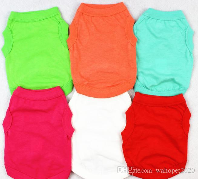 Envío gratis mascota perro perrito camiseta color sólido gato ropa de verano ropa 30 unids / lote XS-XXL