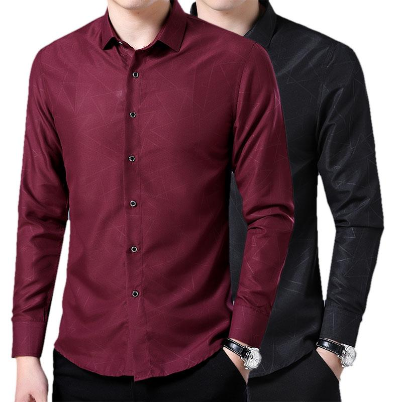 00d41fa8981 High Quality Dress Shirts 2018 New Cotton Business Casual Men Long Sleeves  Shirt Fashion Men Irregular Print Slim Fit Shirt UK 2019 From Yakima
