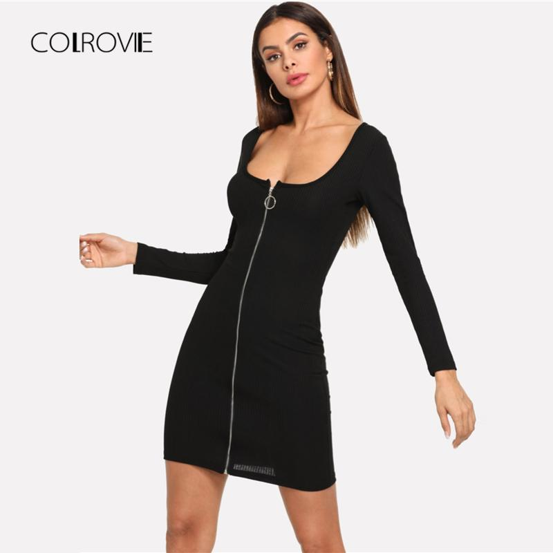 f45755f67b1 2019 COLROVIE Black Solid Zip Up Slim Shirt Sexy Dress Women 2018 Autumn  Long Sleeve Party Dress Girl Bodycon Elegant Mini Dresses From Zhenhuang