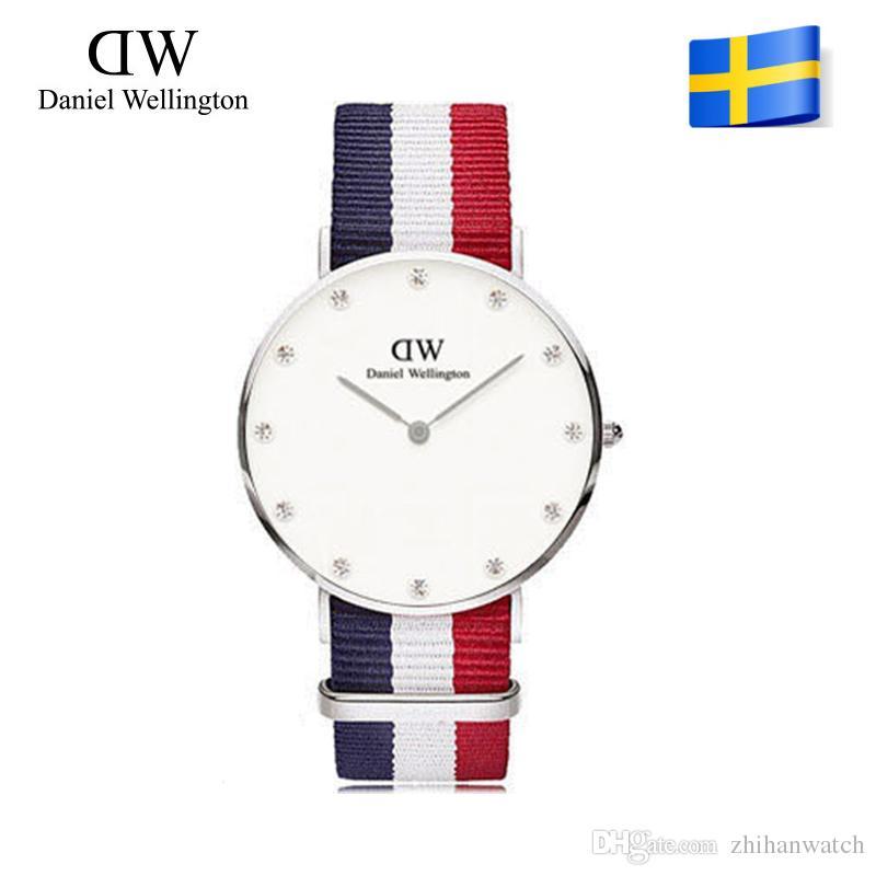 cf21038403383 Wholesale Famous Brand Daniel Wellington S WATCHes Fashion Diamond Nylon  Strap Style 36mm Silver Womens Quartz Watches Female Colck Relojes Skeleton  Watch ...