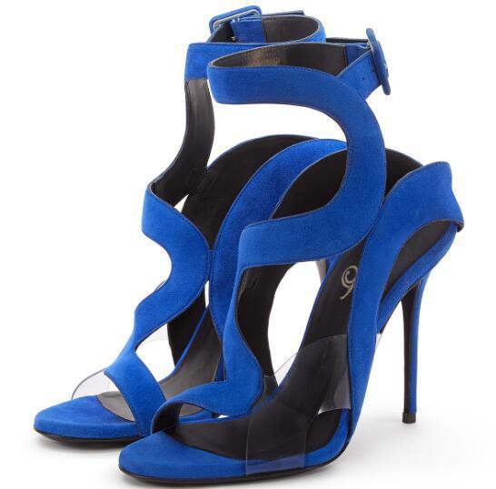 Tacón Punta Mujer Toe Abierta Sandalias De Rojo Vestir Gamuza Alto Azul 2018 Nueva Damas Tobillo Abierto Verano Zapatos nwNOPk0X8
