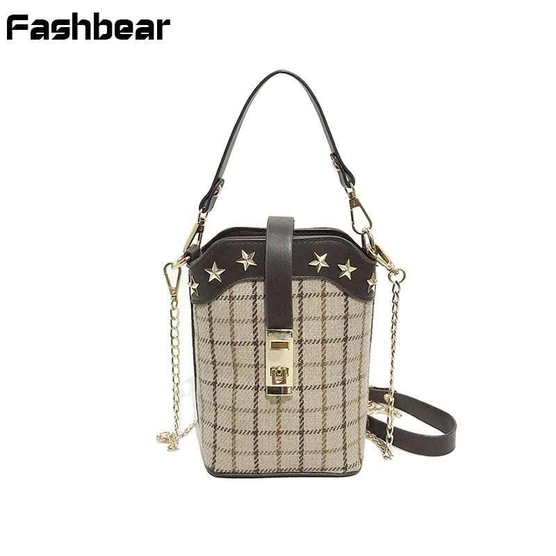 89aa12282d Women Messenger Bags 2018 Plaid Wool Handbags Vintage Flap Stars Chains  Crossbody Bags For Women Korean Style Girls Shoulder Bag Handbags For Women  Brahmin ...