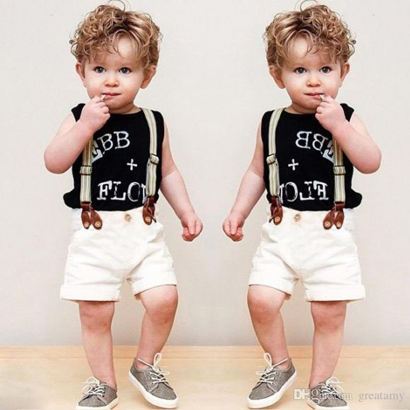 New Baby Boys Clothing Sets Letter Printing Vest T-shirt+Suspender shorts kids 2pcs clothes sets Children Boy Formal Suit