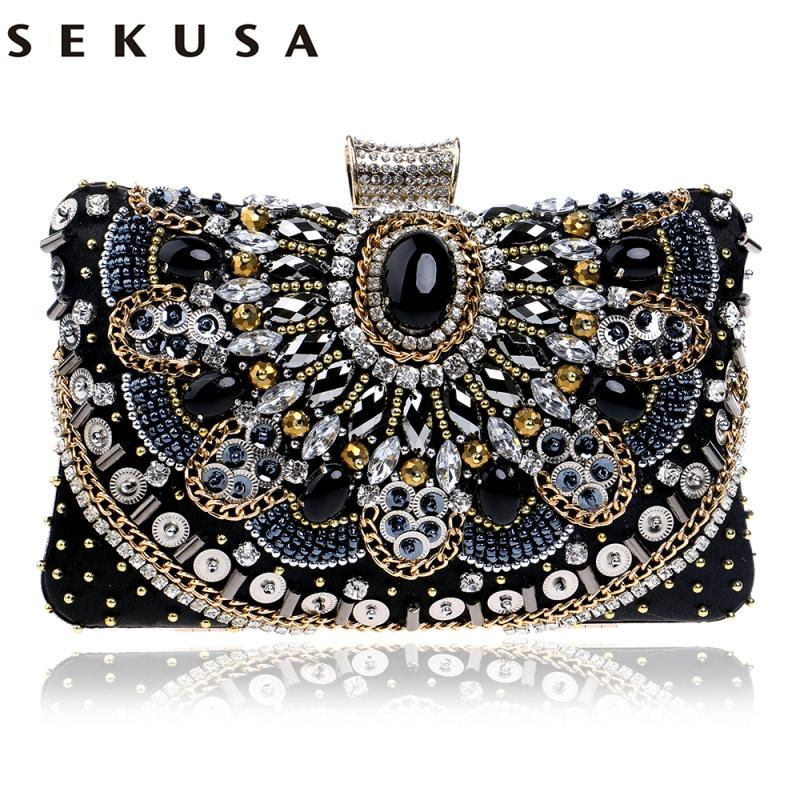 ce8c3ecc77f30 SEKUSA Hot Sale Small Beaded Clutch Purse Elegant Black Evening Bags Wedding  Party Clutch Handbag Metal Chain Shoulder Bags Ivanka Trump Handbags Online  ...