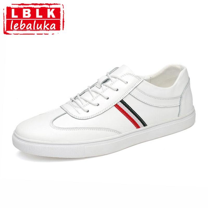 0d5bc192 Compre LebaLuka Hombres De Alta Calidad De Cuero Genuino Zapatos Casuales  Con Cordones Planos De Punta Redonda Zapatos Tendencia Venta Caliente  Calzado ...