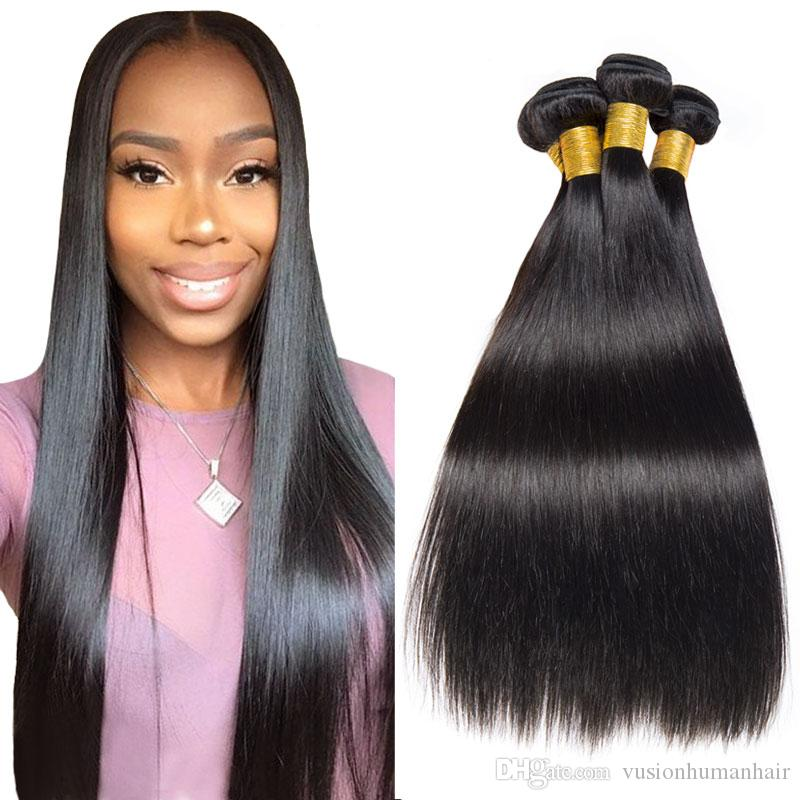 Brazilian Remy Straight Hair Weave Natural Black 22 24 26Inch Unprocessed Human Hair Weave Indian Peruvian Malaysian Brazilian Hair for Sale